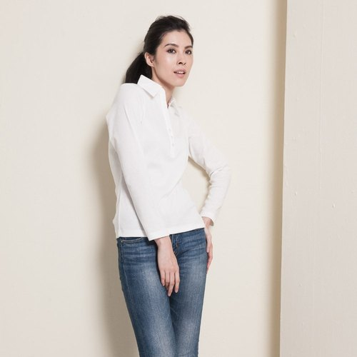 [ Fabrizio ] method Beach delicate shape buckle collar shirt sleeve shirt color - 2 colors