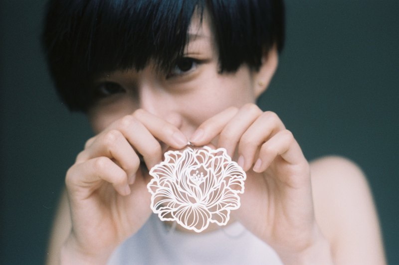 White Steel Pendant Series / Peony Flower / 304 White Steel / Necklace