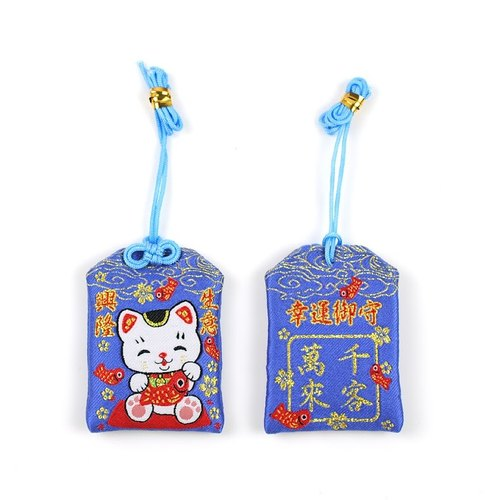 Lucky Lucky Cat Yu Shou*cotton embroidery - double-sided embroidery*Lucky Yu Shou Bag Strap / Taiwan can be customized sachet ※ ※ commemorative gifts