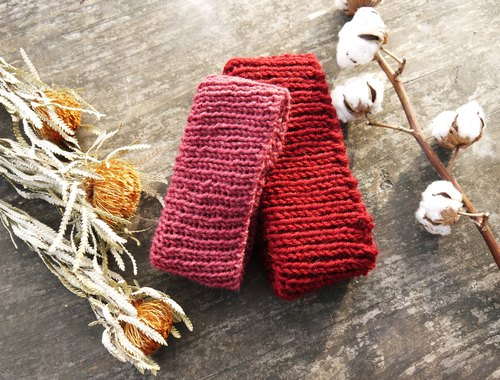 Mama 100% hand-made hat - hand-woven short scarf - vintage dark pink / warm red - Year / gift