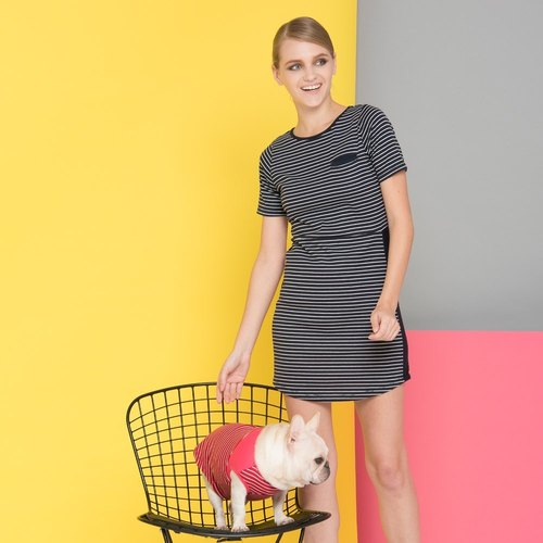 Round neck striped short-sleeved slim dress
