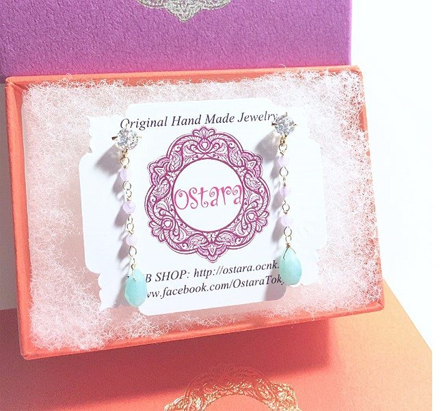 【16KGP】CZ,Gemstone Dangle Stud Earrings,AAA Teardrop Amazonite,Light Purple Jade