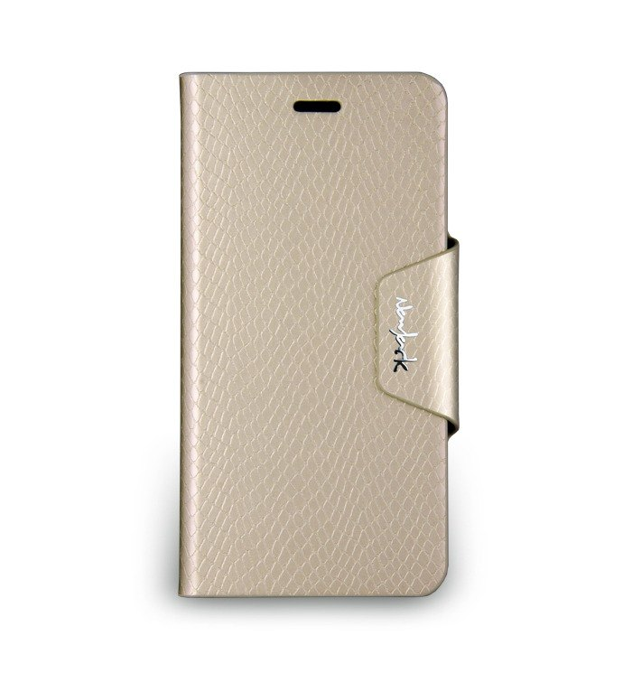 iPhone 6 Plus -The Python Series - snakeskin embossed side flip stand protective sleeve - champagne