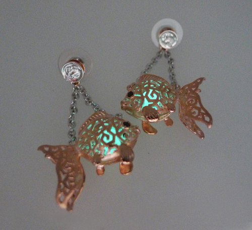 HK059 ~ 925 silver goldfish lantern modeling earrings