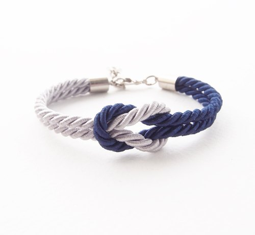 Navy blue and light gray nautical bracelet