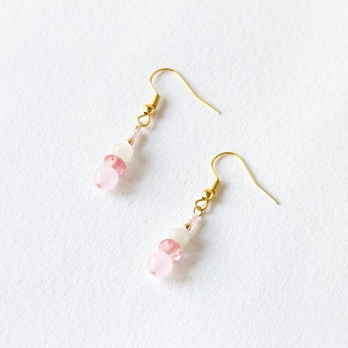 Simple linear earrings / red - strawberry crystal opal earrings natural stone