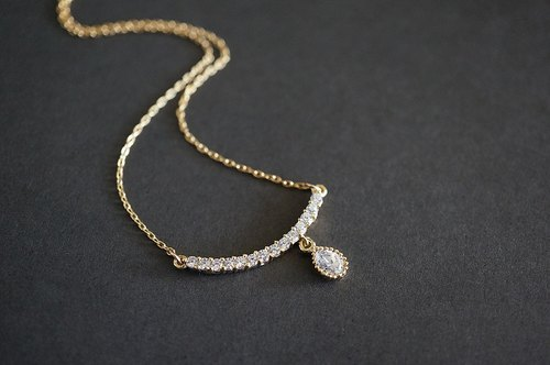 【14KGF】Necklace,16KGP CZ Teardrop & CZ Arch Bar