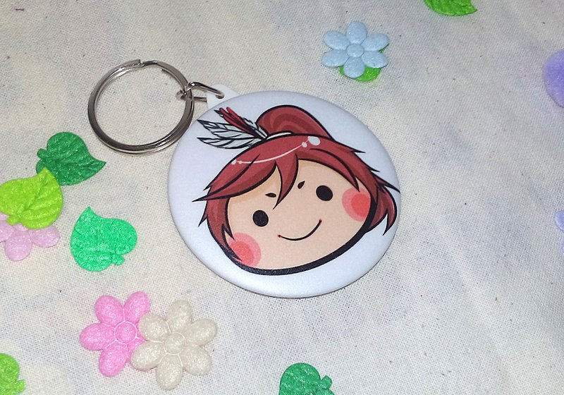 Tian Qing times [before] mirror key ring + badge [into] two