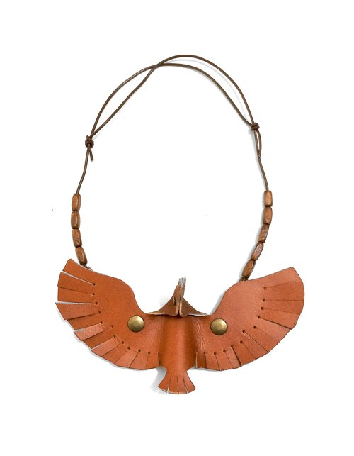 Follow Mie-U Fly I Fly - birds Leather Necklace - Brown