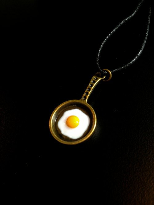 Fried an egg to you when breakfast / leather cord necklace