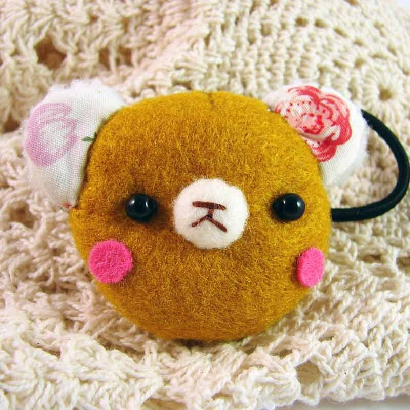 Cheerful. Bear hair bundle / hairpin / hair accessories _ muffin yellow