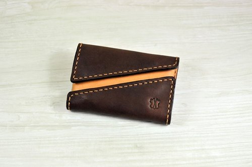 MICO hand-sewn leather card case double-opening design (coke tea tea)