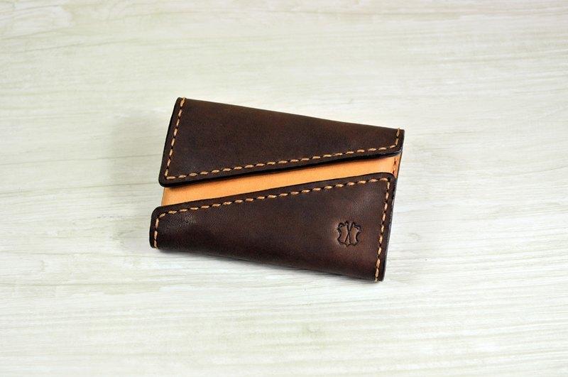 MICO 手縫皮革咭片盒 雙開口設計 (焦茶拼淺茶)