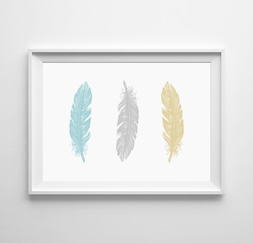 feathers (blue and yellow) Customizable Hanging Poster