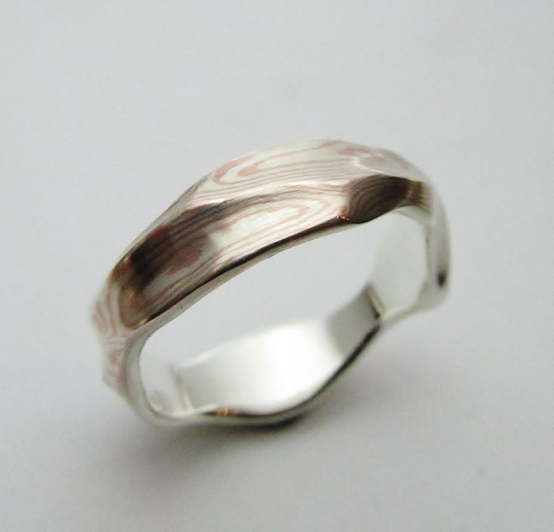 Element 47 Jewelry studio~ mokume gane ring 10  (silver/copper)
