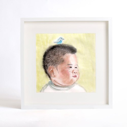 33.5x33.5cm Custom Portrait with Wood Frame, Child's Portrait, Children's Personalized Original Hand Drawn Portrait from Your Photo, OOAK watercolor Painting Ideas Gift