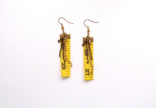 Inch Earrings| Tape measure earrings (Long) | Yellow