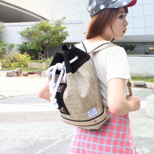 AMINAH- refreshing personality beige boxing bag (small) [am-0250]