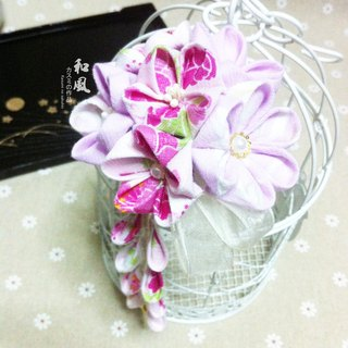 Customized Japanese handmade flower pink with light purple cherry ball hairpin / hairpin with a slight western elements and hairpin bride kimono bathrobe accessories