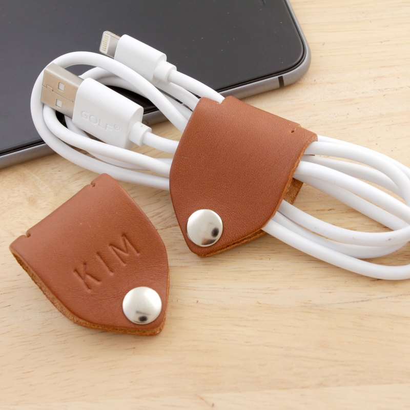 Personalize Name Stamp Cable Keeper / Leather cord organizer - Cable Holder- USB Holder -Tan Brown Color