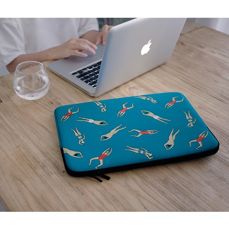 YIZISTORE 14-inch computer bag macbook computer bag blue swim
