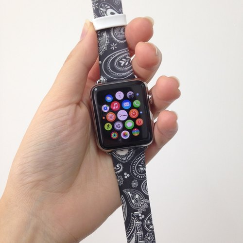 Apple Watch Series 1 , Series 2 & Series 3 - Paisley Black Printed on Genuine Leather for Apple Watch Strap Band 38 / 42 mm - 67