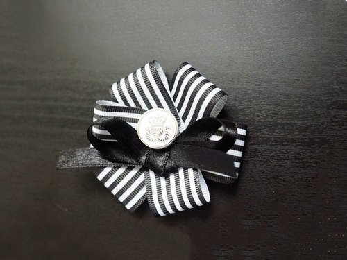 Handmade black and white stripe flower accessory (clip/ band/ corsage)