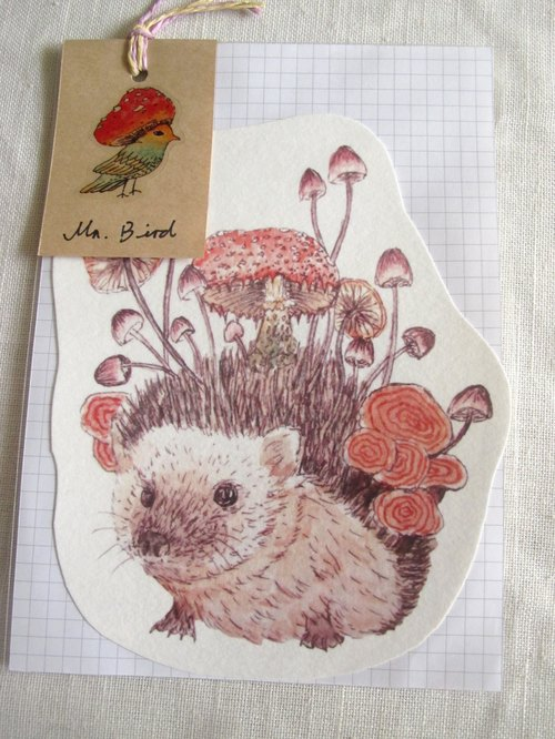 Hedgehog animal shaped postcard