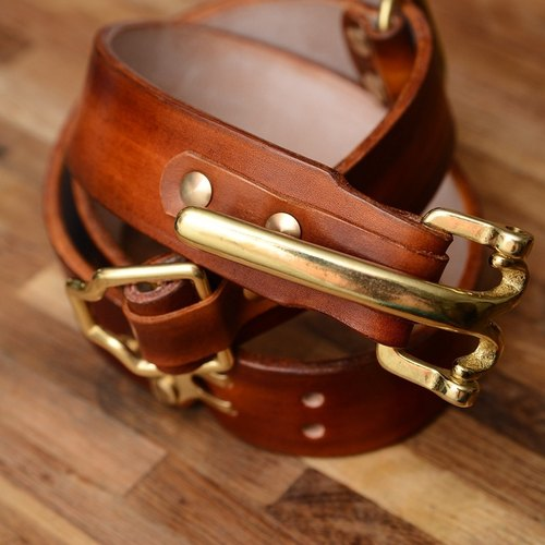 Exquisite hand-tanned leather production edged red leather belt cavalry Littleton