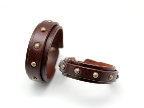 "Light punk Department - ""Double leather bracelet 2cm + 2.5cm Package"""