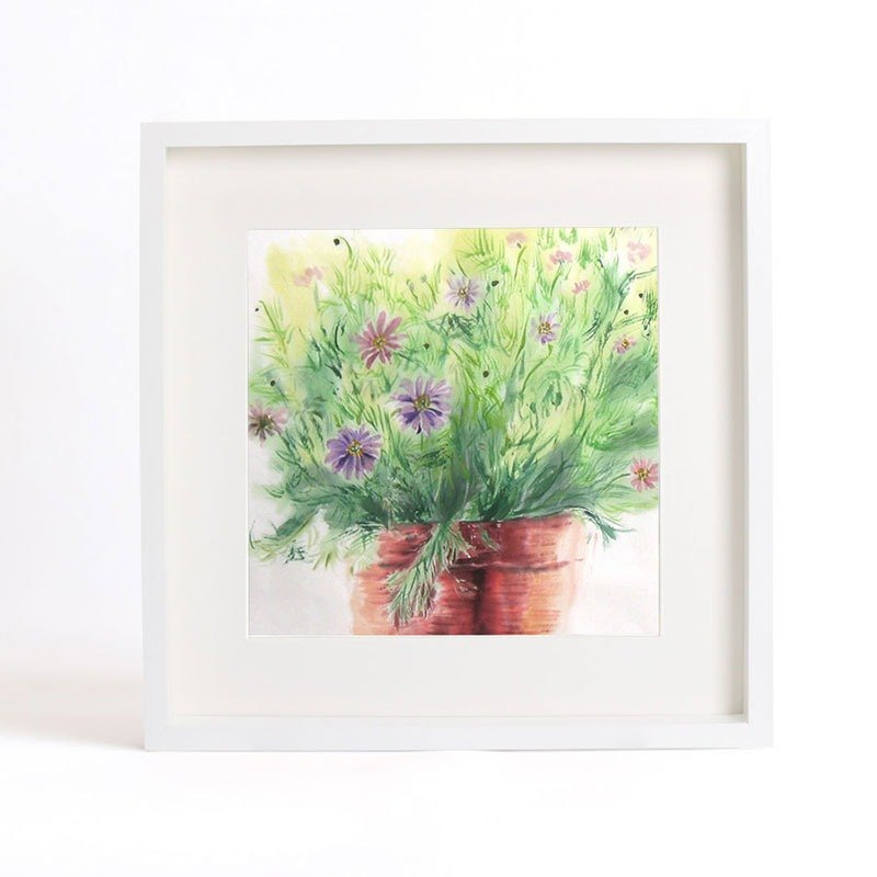 "Original ink painting ""Silent as Enigma"" - The Grass green (daisy) - Home decorative painting with frame (Hankuang 35.5cm)"