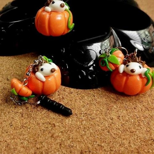 Will be hand-made cup pumpkin hedgehog Heya * mobile phone strap / dust plug / keychain
