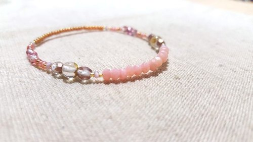 Crystal in dearsharka || pink opal x titanium crystal x net through the small round pink tourmaline. Soft and soft powder