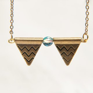 / Simple sense / French design brass long chain necklace short - blue and pennants