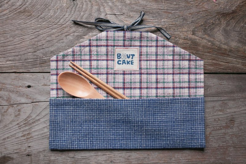 Brut Cake handmade textiles - cloth envelope ancient scroll tableware group (violet green Plaid)