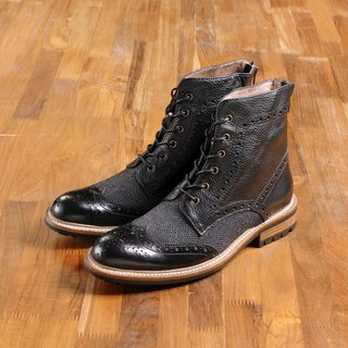 Vanger Elegant American ‧ British revival wing lace boots Va189 Black X Mao stitching