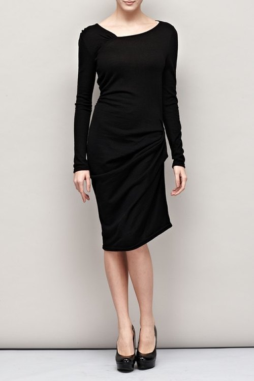 Waist cut the asymmetrical collar knit dress Waist Drapping Sweater Dress