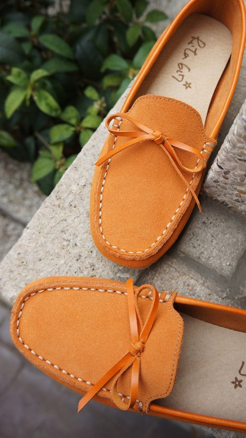 Rita617 Soft series Sew Flats (New Orange + bow)
