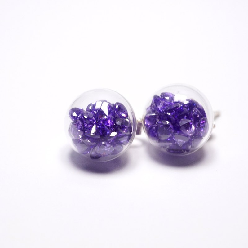 A Handmade purple glass balls zircon earrings