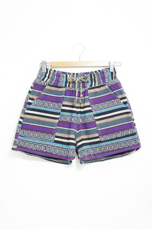 Stitching cotton knit shorts - blue-violet hue national totem (Limited one)