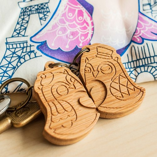 【Valentine's Day Valentine's Day】 【Owl Couple Key Ring】 Couple Key Ring, Anniversary Gift - Single with lettering