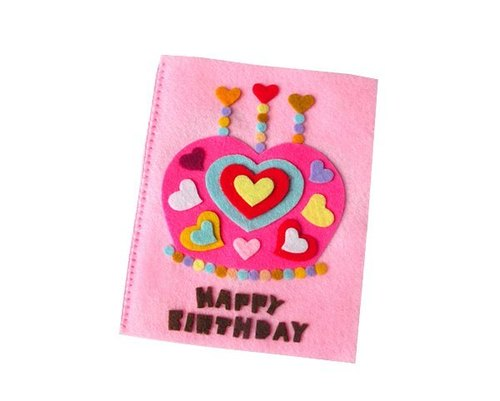 Non-woven handmade cards: Heart crown cake birthday card A