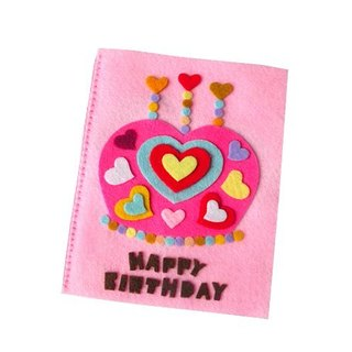 Handmade non-woven card _ Love Crown Cake Birthday Card A