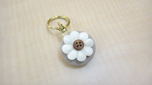 Cloth deduction feel white flowers keychain