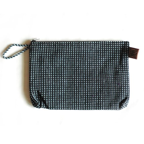 Cotton hand woven atita waterproof storage bag - blue black grid