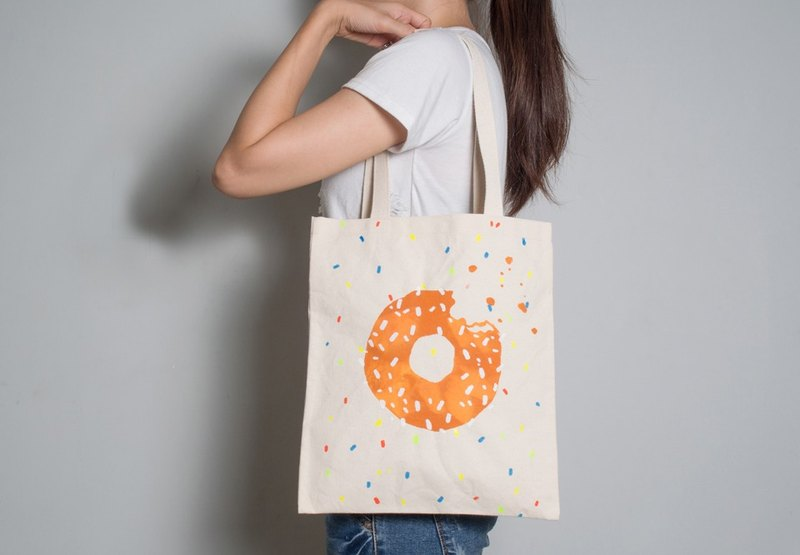 Hand-painted handprints Peibu bag [donuts] sided pattern shoulder