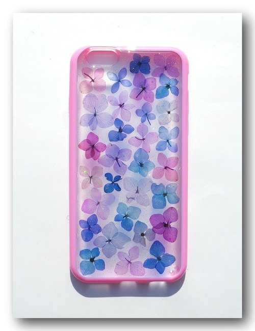 Handmade phone case, Pressed flowers phone case, iphone 6S,a little blue
