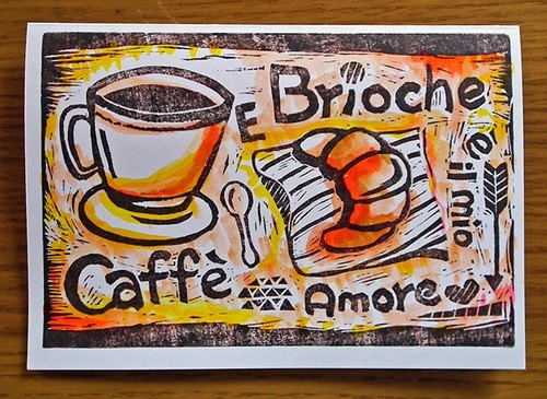 Coffee and croissants card