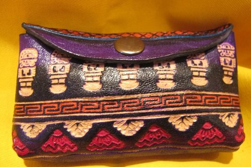 Dyeing leather handle small purse - leather brand totem - Purple