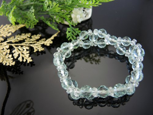 """Water Stone crystal dew - sea blue glass"" romantic blue sea glass bracelet"